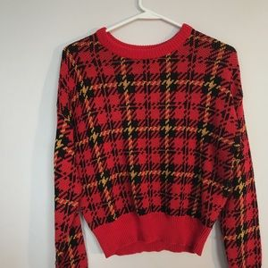 Red yellow flannel urban outfitters sweater thick